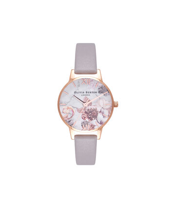 OLIVIA BURTON LONDON Marble FloralsOB16CS14 – Midi Dial Round in Floral Sand and Rose Gold - Front view