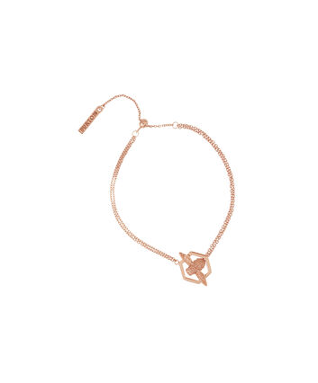 OLIVIA BURTON LONDON Honeycomb BeeOBJ16AMB31 – Honeycomb Bee Chain Bracelet - Front view