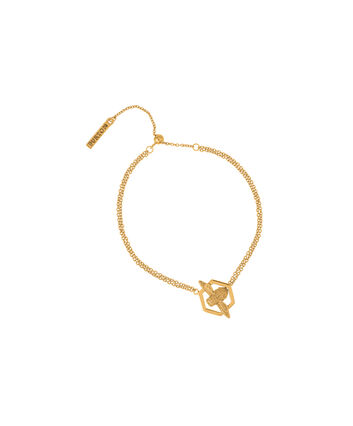 OLIVIA BURTON LONDON Honeycomb BeeOBJ16AMB32 – Honeycomb Bee Chain Bracelet - Front view